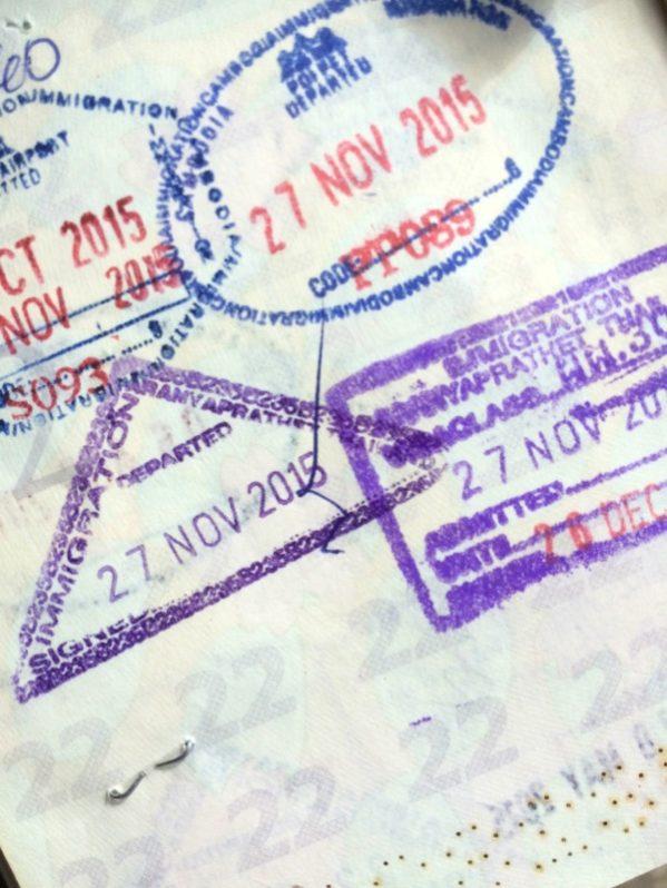 カンボジアの出入国スタンプ
