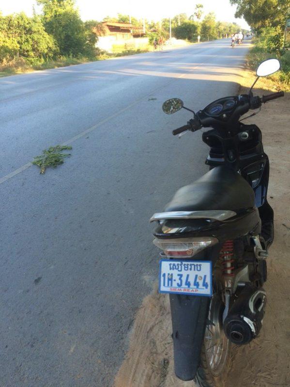 ガス欠で止まったバイク