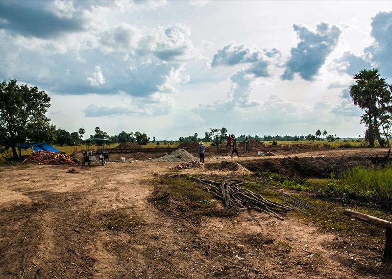 カンボジアの学校建設地22日目の様子