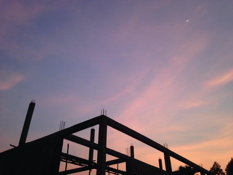 学校から見る夕焼け