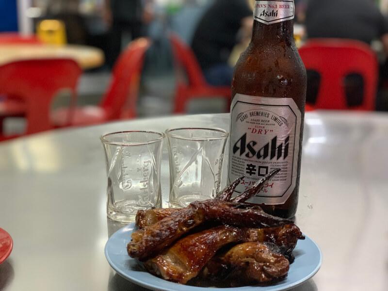 アサヒビールと鶏の手羽先