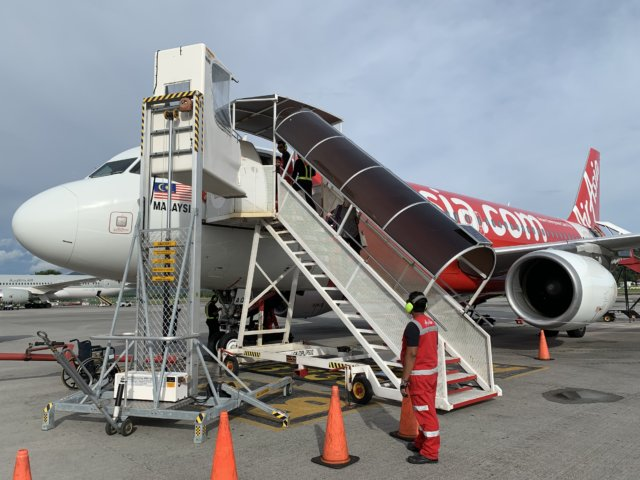 ランカウイ島に着陸した飛行機