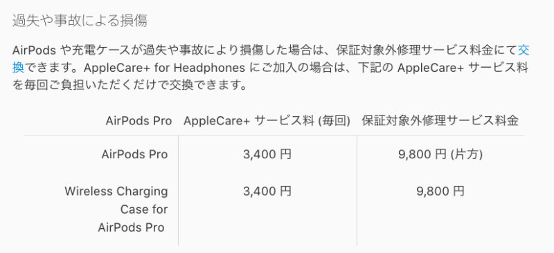 AirPods Proを水没させた場合の修理費
