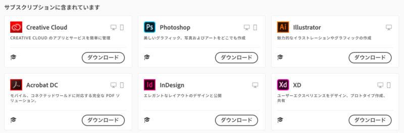 Adobe Creative Cloudのコンプリートプランの内容1