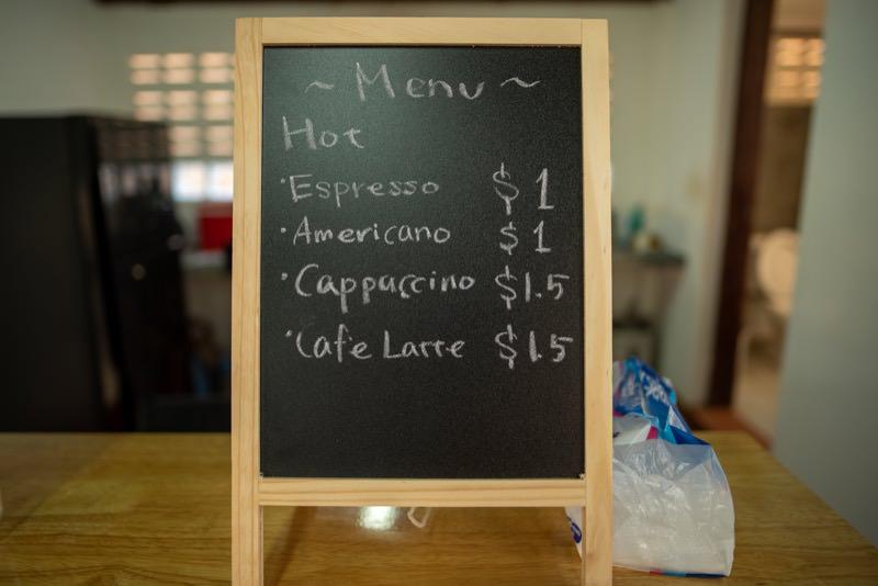 Cafe404のメニューボード