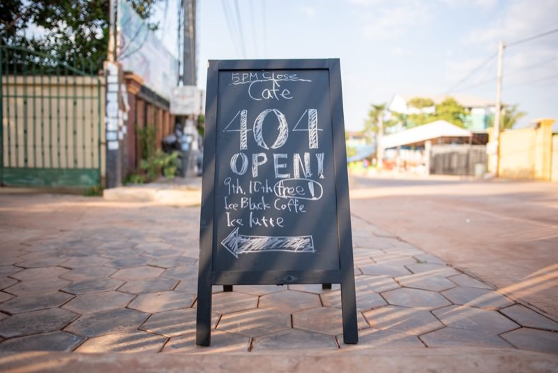 Cafe404の看板