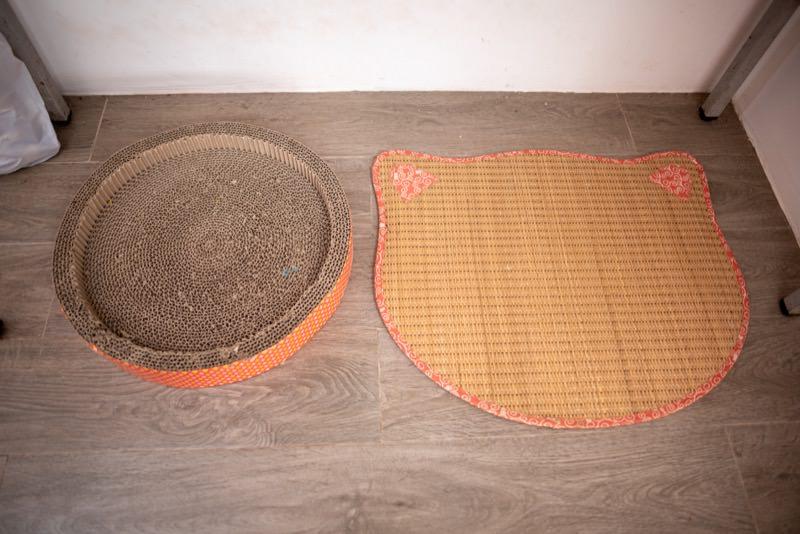 爪とぎ段ボールと座布団